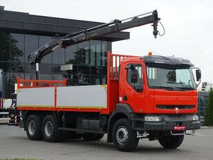 truk flatbed RENAULT Kerax 370 dci 6x4 Darus HIAB 144