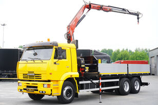 truk flatbed KAMAZ 65117 , 6x4 , Crane Fassi 95 , rotator , box 6m