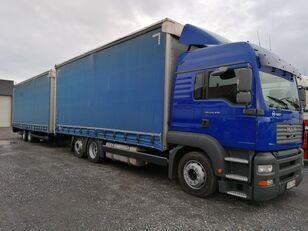truk jungkit MAN TGA 24.430 + trailer yang bisa dimiringkan