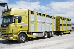 truk pengangkut hewan SCANIA R164 V8 , 6x2 , 2 hydraulic decks , 70m2 , live stock + trailer pengangkut ternak